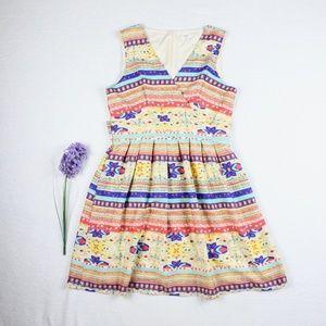 Maison Jules Mulitcolor Geo Print Surplice Dress M